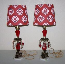 2 Pair Vintage Lamps Italy Marble Base Red amp; Clear Crystals New Shades $39.99
