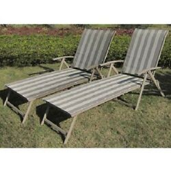 Folding Lounge Chair Set of 2 Steel Outdoor Recliners for Patio Beach Garden NEW