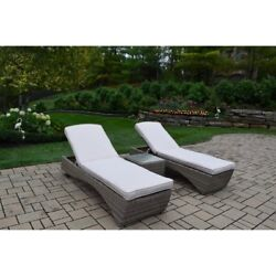 Oakland Living Borneo 3 Piece Outdoor Chaise Lounge Set Gray 4H in.