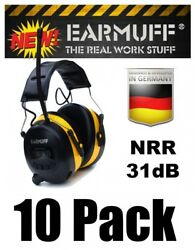 (10) 31dB WIRELESS YELLOW HEADPHONES Digital AM FM Radio MP3 Protection Ear Muff