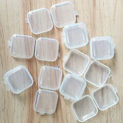 50* Mini Clear Plastic Small Box Hook Jewelry Earing Earplugs Container Storage