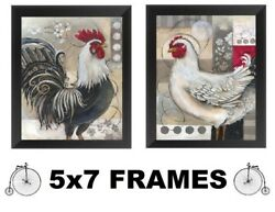 💗 5x7 Rooster Pictures Red Black Kitchen Wall Hangings Roosters Chicken Hen $13.99