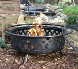 Extra Large Fire Pit Wood Burning Firepit Steel Fireplace Outdoor Heater 34