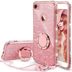 iPhone SE 2020 8 7 Case Glitter Cute Phone Case Girls with Ring Kickstand Pink $8.98