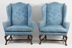 Pair of Kittinger Colonial Williamsburg Mahogany Wing Chairs CW 44 Blue Damask