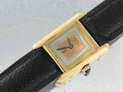 Must de Cartier Ladies Gold Plated Silver Mechanical Watch Cartier Tank Watch