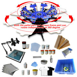 8 color 8 station screen printing kit Super model Screen Press Machine with ink