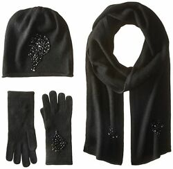 La Fiorentina Women's Jeweled Cashmere Scarf Hat and Glove Set Black On... New