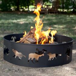 Fire Pit Heavy Duty Steel Portable In Ground Large Ring Outdoor Camping Backyard