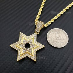 Hip Hop Iced Lab Diamond Star of David Pendant amp; 4mm 24quot; Rope Chain Necklace $10.93