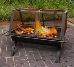 Patio Firepit Outdoor Fireplace Wood Burning BBQ Grill Backyard Fire Pit Heater