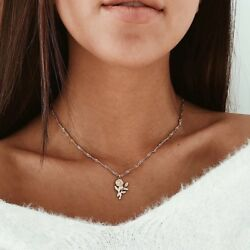 Women's Rose Flower Pendant Necklace Gold Or Silver Plated Valentines Gift N92