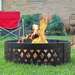 Steel Campfire Ring Heavy Duty 36 Inch Crossweave Outdoor Large Patio Fire Pit