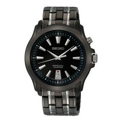NEW Seiko SNQ121 Perpetual Black Dial Stainless Steel Men's Watch S8