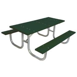 Green 6 ft. Recycled Plastic Rectangle Park Portable Table and Surface Mount
