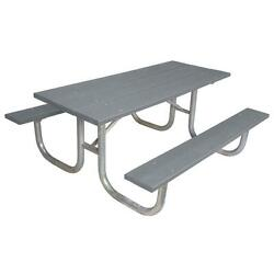 Gray 6 ft. Park Recycled Plastic Rectangle Portable Table and Surface Mount
