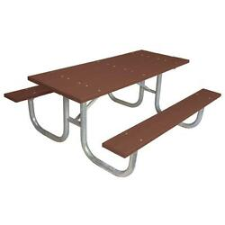 Brown 6 ft. Commercial Park Recycled Rectangle Plastic Portable Picnic Table