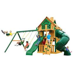 Cedar Mountaineer Clubhouse Treehouse Playset with Fort Add-On and Timber Shield
