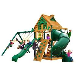 Brown Wood Surface Mount Mountaineer Treehouse Swing Playset with Timber Shield