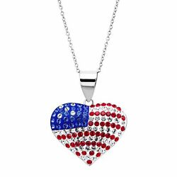 Crystaluxe American Flag Heart Pendant with Swarovski Crystals Sterling Silver