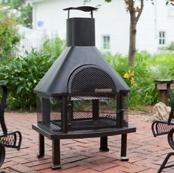 Chiminea Fire Pit Outdoor Cooking Oven Portable Backyard BBQ Patio 4 Feet Cover