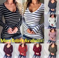 Women#x27;s Junior#x27;s Basic Striped Long Sleeve Casual Deep V Neck Top Tee Shirt $11.89
