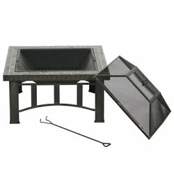 Fire Pit Table 30-IN Slate Top Square Outdoor Backyard Heat Deck Wood Burnning