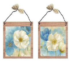 Blue amp; White Floral Pictures Poppy Flowers Wall Hangings Bed Bath Home Plaques $7.99