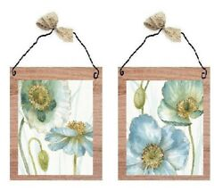 Blue amp; Green Floral Pictures Poppy Flowers Wall Hangings Bed Bath Home Plaques $7.99