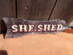 She Shed This Way To Arrow Sign Directional Novelty Metal 17