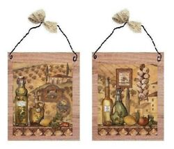 Italian Pictures Cooking Oils Bistro Kitchen Bottles Wall Hangings Plaques $10.99