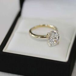 Womens 2.50 Ct Oval Cut Diamond Solitaire Engagement Ring 14K Yellow Gold Finish