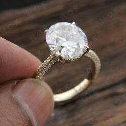 Real 10k Yellow Gold 3 Ct Oval Cut Diamond Solitaire Engagement Ring For Women's