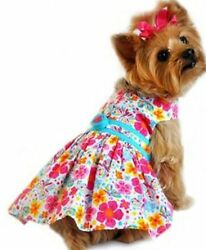 Fiesta Turquoise and Hot Pink Floral Dog Harness Dress $26.96