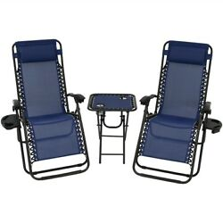 New Zero Gravity Chairs Case Of 2 Lounge Patio Chairs with table Outdoor Blue