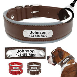 Leather Dog Collars for Large Dogs Personalized Reflective for Pit Bull Bulldog $10.99