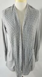 Anthropologie Angel of The North Womens Open Cardigan Gray Linen Blend Medium $19.99