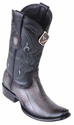 King Exotic GRAY Genuine Ostrich Leg Western Boot Dubai Square Toe EE $259.99