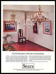 1966 Sears Crystal Chandeliers Vintage PRINT AD Lighting Fixtures Home Decor $8.99
