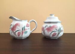 MIKASA CONTINENTAL F 3003 SILK FLOWERS Japan Creamer and Sugar Bowl with Lid