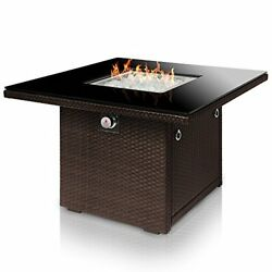 Fire Pit Table Outdoor Propane Aluminum Frame Wicker Panels Arctic Glass Rocks