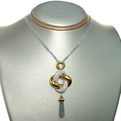 Striking 2.03 TCW Round Cut Diamonds Necklace Crafted In Solid 18k Two-Tone Gold