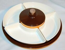 VINTAGE KROMEX LAZY SUSAN CHIP AND DIP SERVING TRAY PLASTIC & METAL MADE IN USA