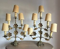 2 Antique Jewelry Bronze Table Lamp with Flowers 5 Lights in Pair