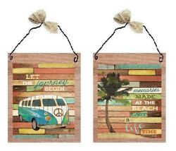 💗 Hippie 60#x27;s Looking Pictures VW Wagon Memories Wall Hangings Home Plaques $10.99
