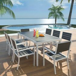 Outdoor Patio Dining Table and Chairs Set for 8 Person Garden Bistro Black Seat