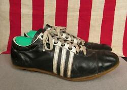 Vintage 1960s Spalding Black Leather Soccer Shoes Cleats Football Sz 10.5 Nice $202.50
