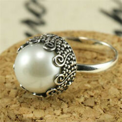 Chic Silver Plated White Pearl Wedding Engagement Ring Bridal Proposal Jewelry