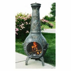 Oakland Living Butterfly Chiminea Antique Pewter 23L x 20W x 54H in.