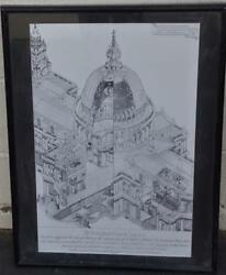 Wonderful Print of a Drawing of St. Paul#x27;s Cathedral FRAMED amp; MATTED POSTER $99.99
